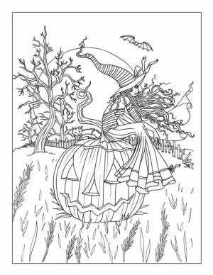 Adult Halloween Coloring Pages Cute Witch 3ctw