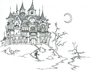 Adult Halloween Coloring Pages Haunted Mansion 0hum