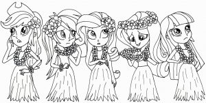 Equestria Girls Coloring Pages Wearing Hawaiian Costume