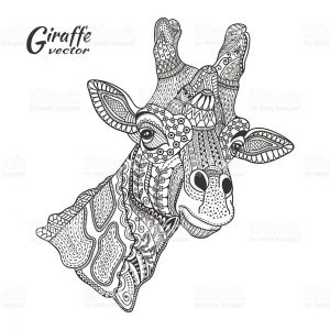 Giraffe Coloring Pages for Adults Zentangle Art – 88912