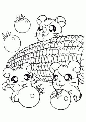 Kawaii Animal Coloring Pages Hamster