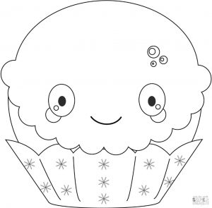 Kawaii Coloring Pages Food Cupcake