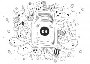 Kawaii Doodle Art Coloring Pages for Grown Ups