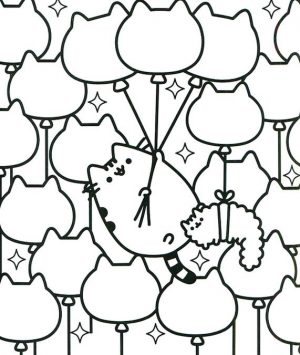 Kawaii Pusheen Cat Coloring Pages to Print