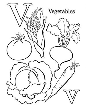 Letter V Coloring Pages Vegetables – v73p2