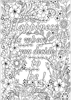 Printable Adult Coloring Pages Quotes Happiness