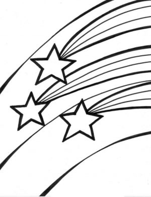 Star Coloring Pages Three Stars Racing Across the Sky