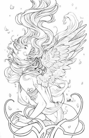 Angel Fantasy Coloring Pages for Adults   FC654B