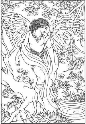 Angel Fantasy Coloring Pages for Adults   VB67NM