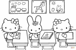 Back to School Hello Kitty Coloring Pages Printable   7yfg2