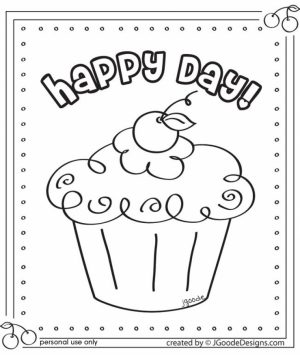 Birthday Cupcake Coloring Pages   95031