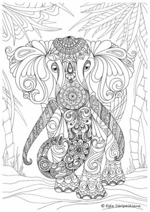 Hard Elephant Coloring Pages for Adults