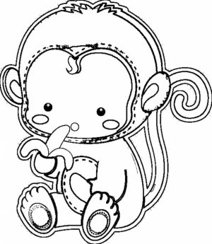 Cute Baby Monkey Coloring Pages for Kids   21794
