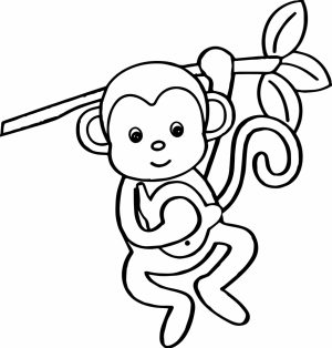 Cute Baby Monkey Coloring Pages for Kids   76301