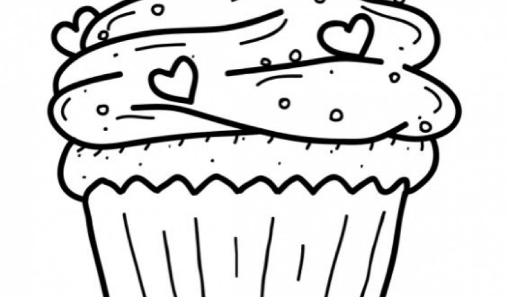 beautiful happy birthday cupcake coloring pages with cupcake