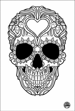 Day of the Dead Sugar Skulls Coloring Pages   3bcm9