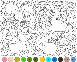 Difficult Color by Number Pages for Grown Ups   HL82T