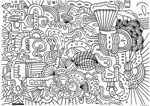 Exciting Doodle Art Grown up Coloring Pages Free   FX42B