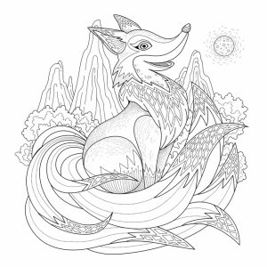 Fox Coloring Pages for Adults Free Printable   08s6l