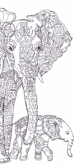 Free Printable Elephant Coloring Pages for Adults   ti380
