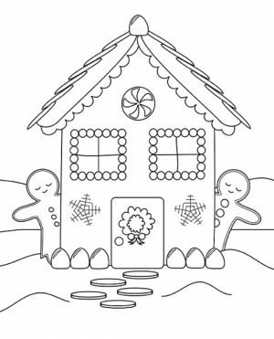 Free Printable Gingerbread House Coloring Pages for Kids   I86Om
