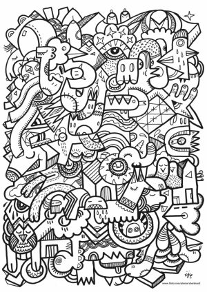 Doodle Art Coloring Pages for Adults