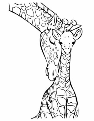 Giraffe Coloring Pages Realistic Animals   31794