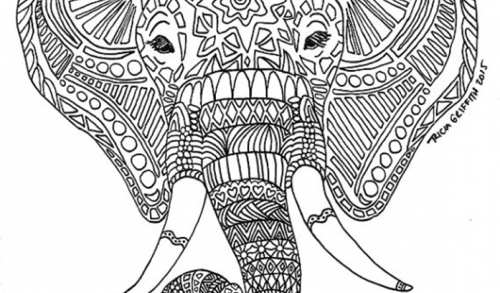 Get This Hard Elephant Coloring Pages for Adults 247954