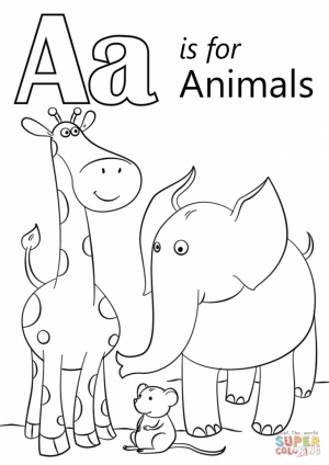 Letter A Coloring Pages Animals   734n0