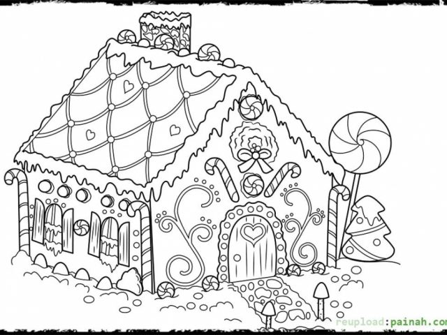 Gingerbread House Printable Coloring Pages Coloring Coloring Pages