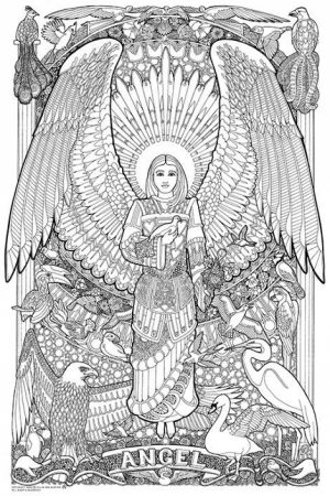 Printable Hard Coloring Pages of Angel for Grown Ups   87dc34