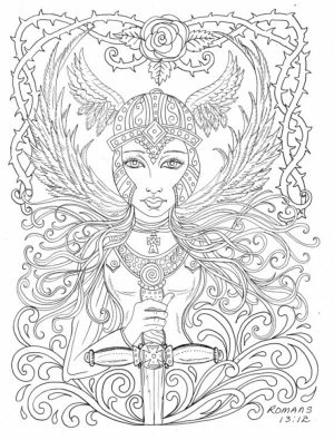 Printable Hard Coloring Pages of Angel for Grown Ups   CTK75