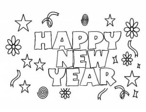 Simple New Years Coloring Pages to Print for Preschoolers   65982