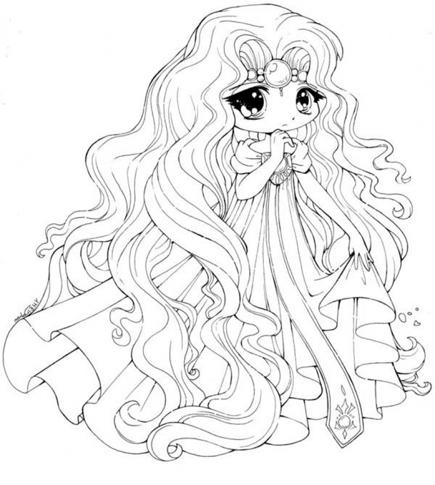 Get this easy printable chibi coloring pages for children for Cute anime coloring pages to print