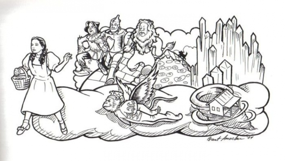 Wizard Of Oz Coloring Pages Endearing Get This Free Simple Wizard Of Oz Coloring Pages For Children Cm3Xv