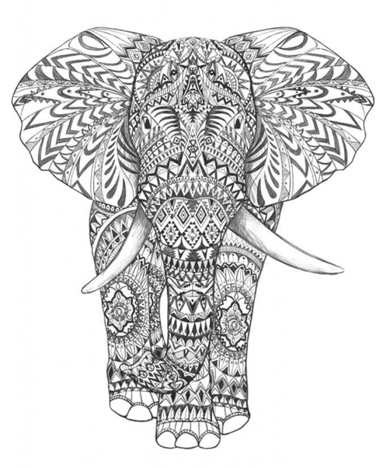 Get this abstract elephant coloring pages 77421 Coloring book elephant