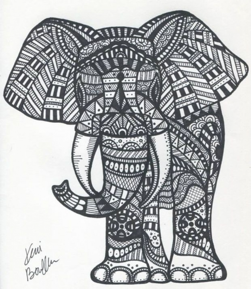 get this abstract elephant coloring pages 99537