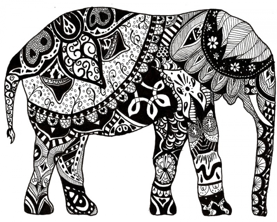 Advanced Elephant Coloring Pages   85395