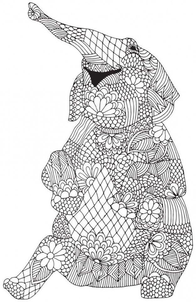 Get This Challenging Coloring Pages of Elephant for Adults ...