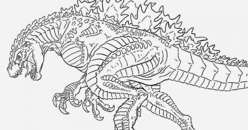 Childrens Printable Godzilla Coloring Pages V9hxD
