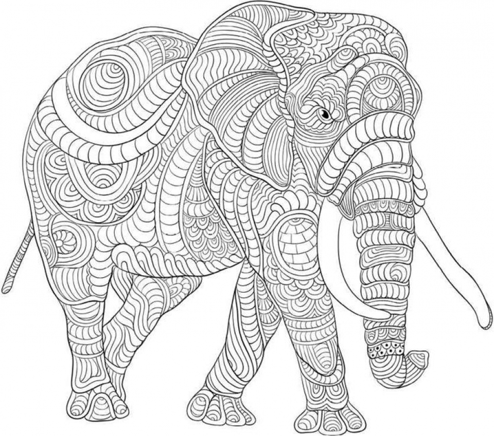 Elephant coloring pages hard coloring page for Hard coloring pages