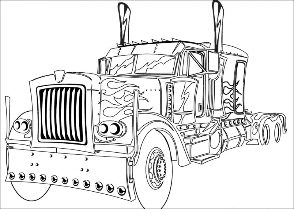 Easy Optimus Prime Coloring Page For Preschoolers 9iz28