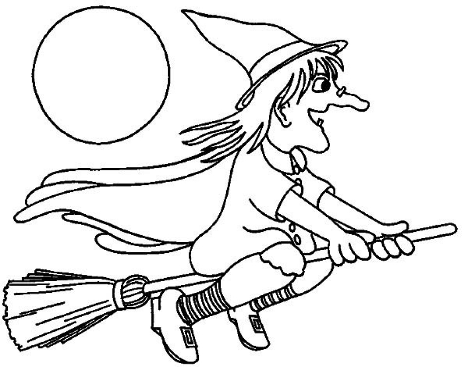 Get this easy preschool printable of witch coloring pages for Coloring pages of witches