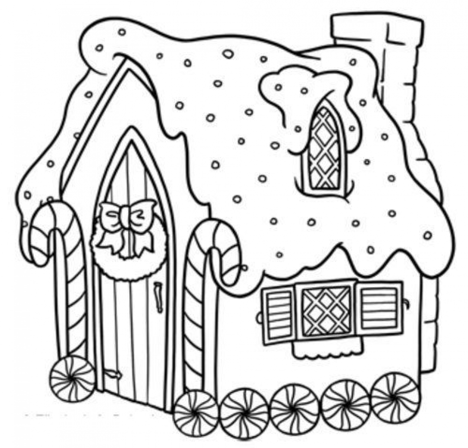 get this easy printable gingerbread house coloring pages for