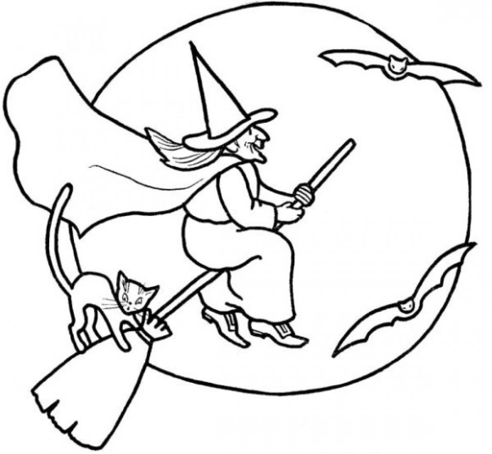 Easy Witch Coloring Pages For Preschoolers XoN4i