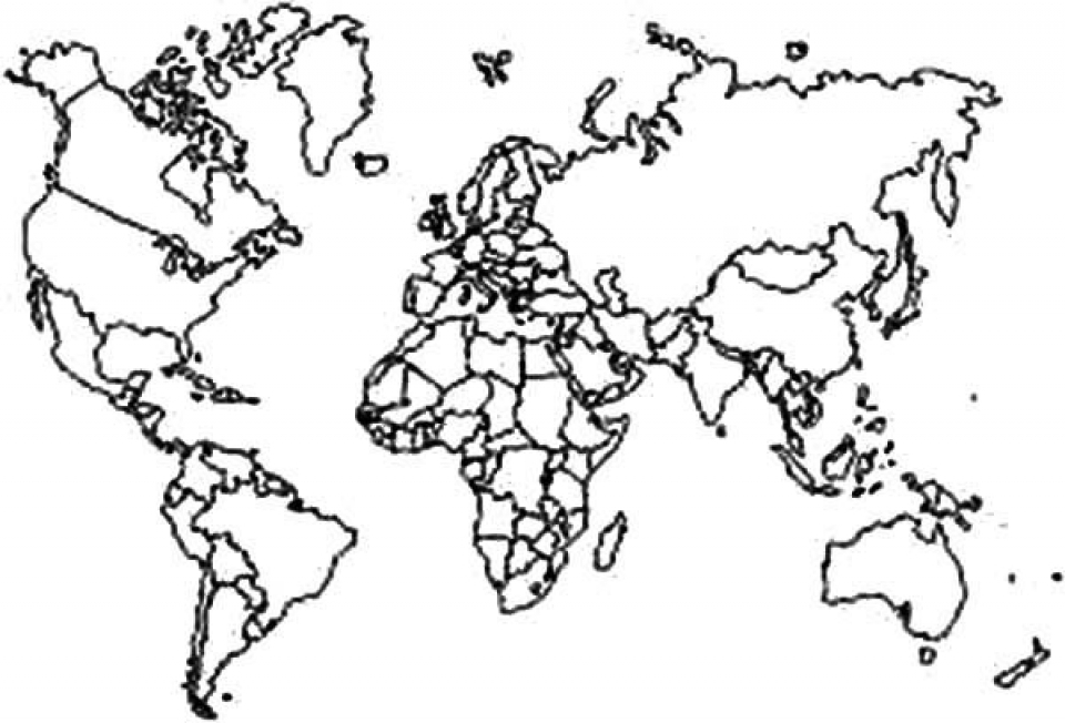 Get This Easy World Map Coloring Pages For Preschoolers