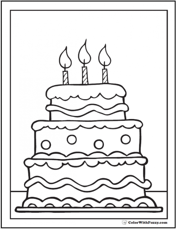 20 Free Printable Birthday Cake Coloring Pages Everfreecoloring Com Cake Coloring Page