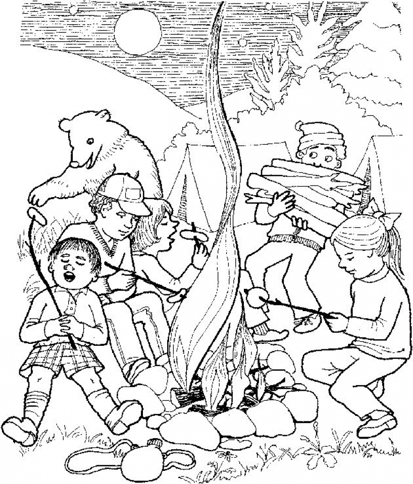 free camping coloring pages to print 12490 - Camping Coloring Pages