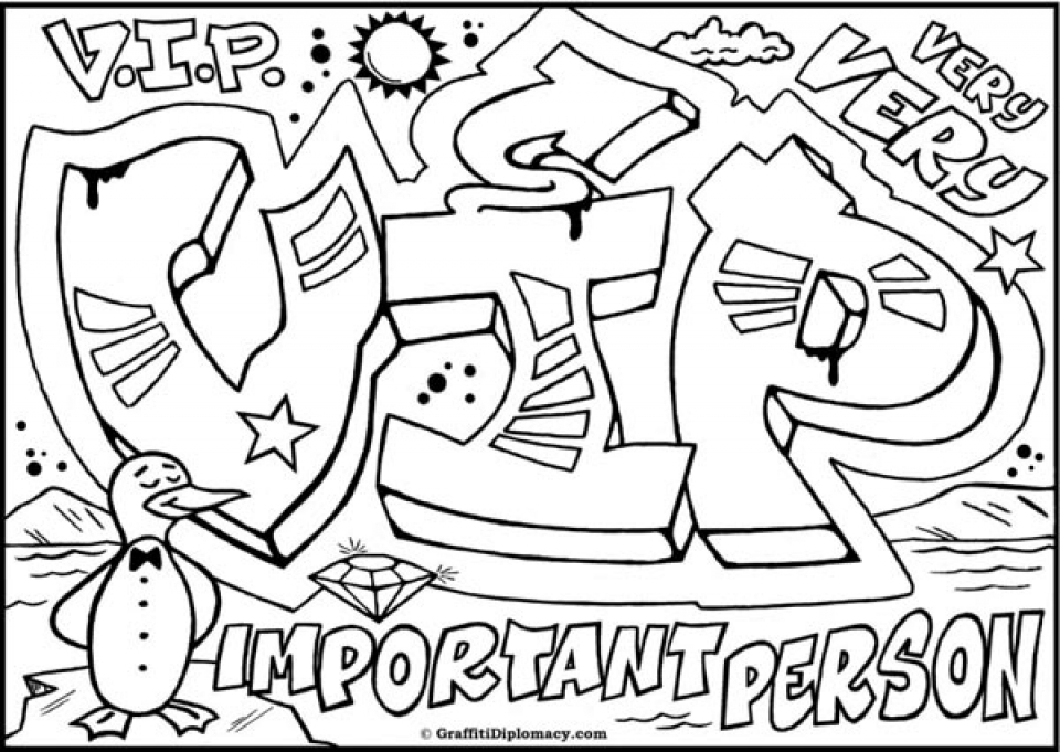 free graffiti coloring pages to print 26021 - Graffiti Coloring Pages