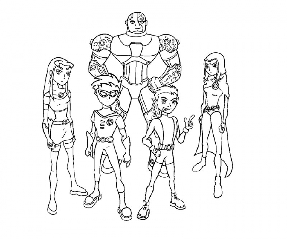 Get this free preschool teen titans coloring pages to for Teen titans coloring pages